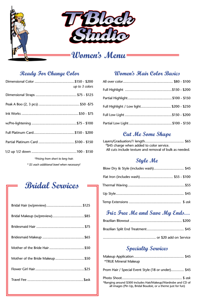 womens menu